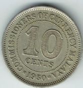 Malaya, George VI, 10 Cents 1950, VF, WB5577